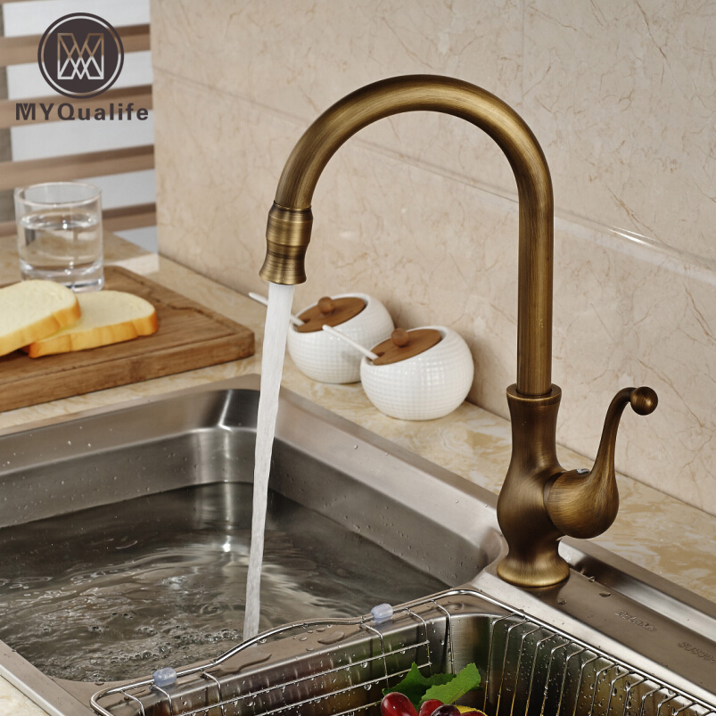 brass antique single handle kitchen sink faucet deck mount one hole cold hot water tap bathroom. Interior Design Ideas. Home Design Ideas