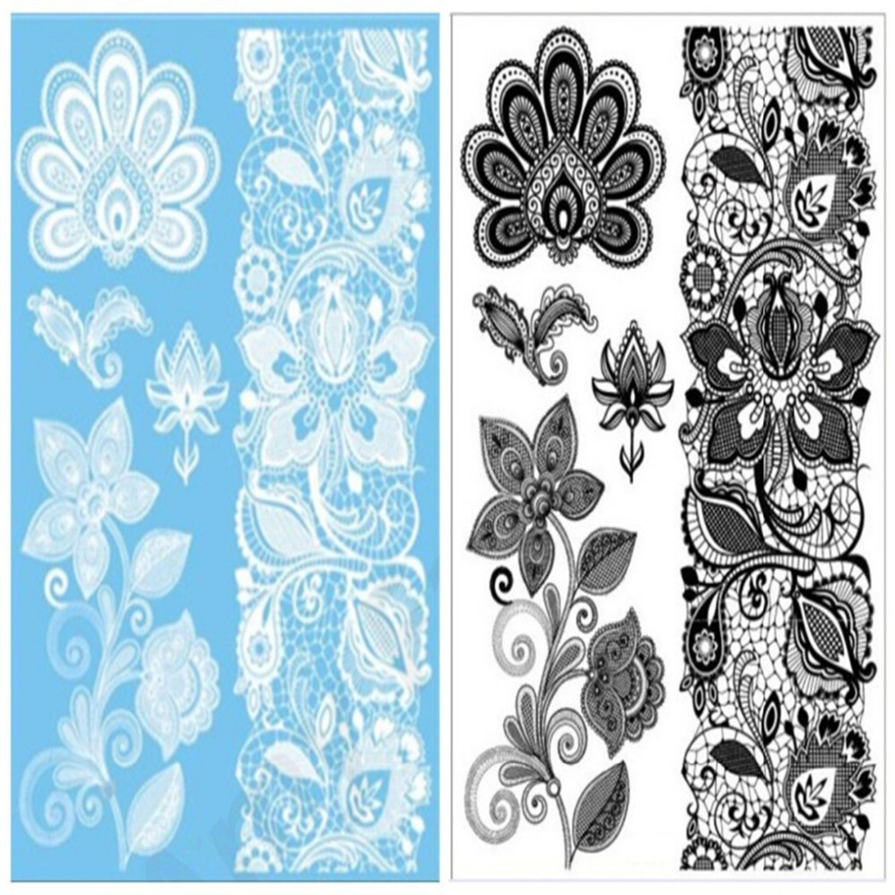 Online buy wholesale black white flower tattoo from china black 2pcslot big tattoos sticker sexy hanna female black white lace bride temporary flash tattoo dhlflorist Images