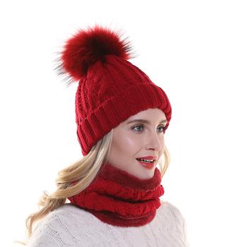 Zimowy polar wewnątrz ciepły szalik kapelusz dla kobiet prawdziwe futro czapka z pomponem ścieg kręty kapelusz i zestaw szalików tanie i dobre opinie furandown WOMEN Akrylowe Dla dorosłych 50cm HSS004 Stałe Szalik Kapelusz i rękawiczki zestawy 20cm Moda 0 2kg Winter scarf hat sets For Women