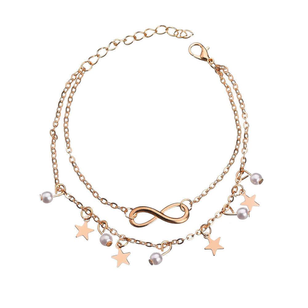Модный многослойный ножной браслет в стиле бохо со звездами, цепочка на ногу 2019, браслет на лодыжку для женщин, пляжные аксессуары, подарок