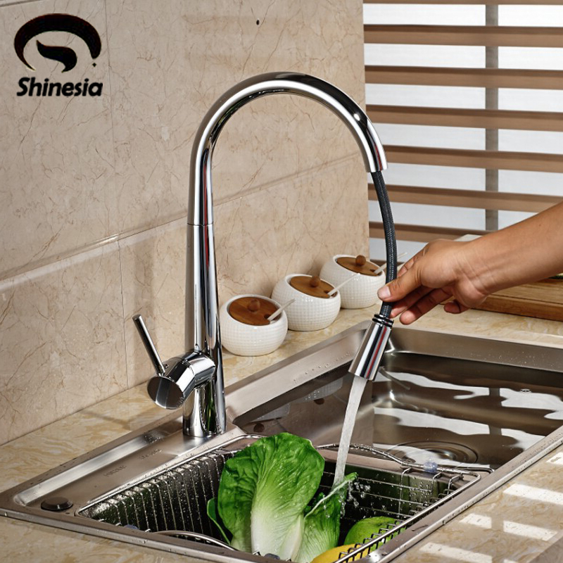 Chrome Polished Solid Brass Pull Out Kitchen Faucet Swivel Spouts Vessel Single Handle Sink Mixer Tap Deck Mount classic jade body swivel pull out kitchen faucet water saving polished chrome basin mixer brass tap vessel vanity sink