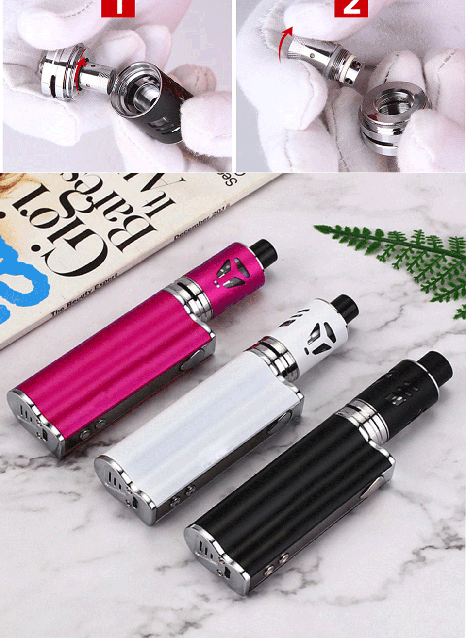 , Mini 80w Electronic Cigarette Kits 2200mah Built in Battery Box mod Starter Kit 510 Metal Body 0.5ohm E- Cigarette  vape vaper