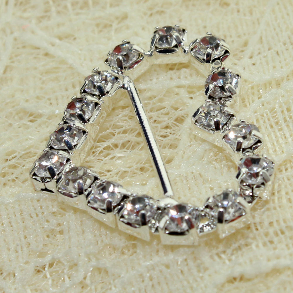 20pcs heart Silver Square Rhinestone Buckle fashion jewelry for ...
