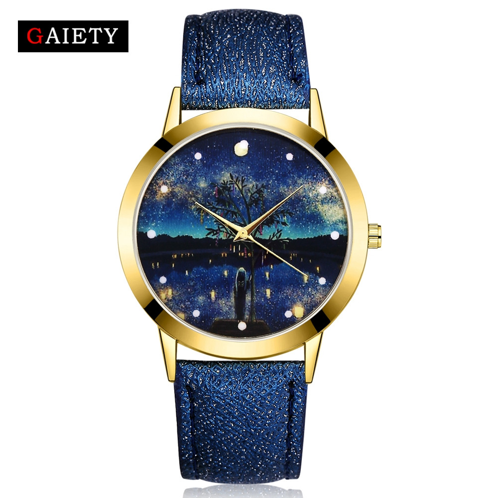 High Quality 2018 New Creative Watches for Women Fashion Starry Sky Leather Band Analog Quartz Round Wrist Watch Watches clock#B vansvar cute moon stars design analog wrist watch women unique romantic starry sky dial casual fashion quartz watches women gift
