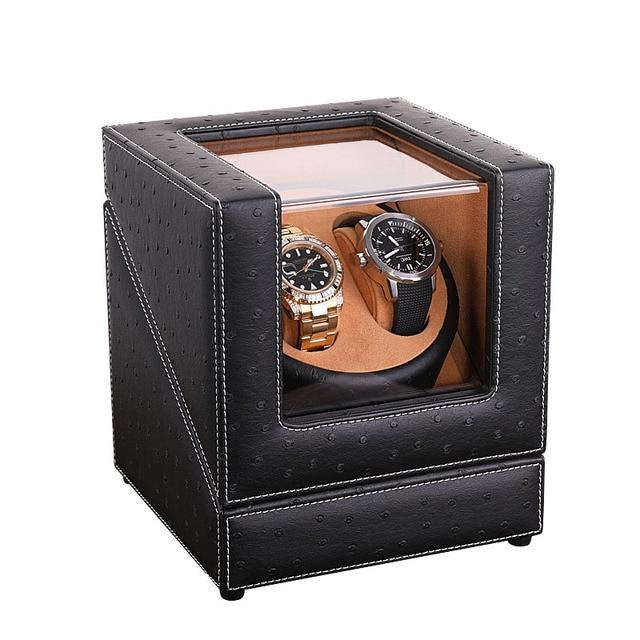 صندوق لفاف ساعة أوتوماتيكية بتصميم هدية ، 4 نماذج من الجلد بنمط النعام 2 مقبس طاقة 4 مقابس Mabuchi لراكبي الساعات جودة مضمونة