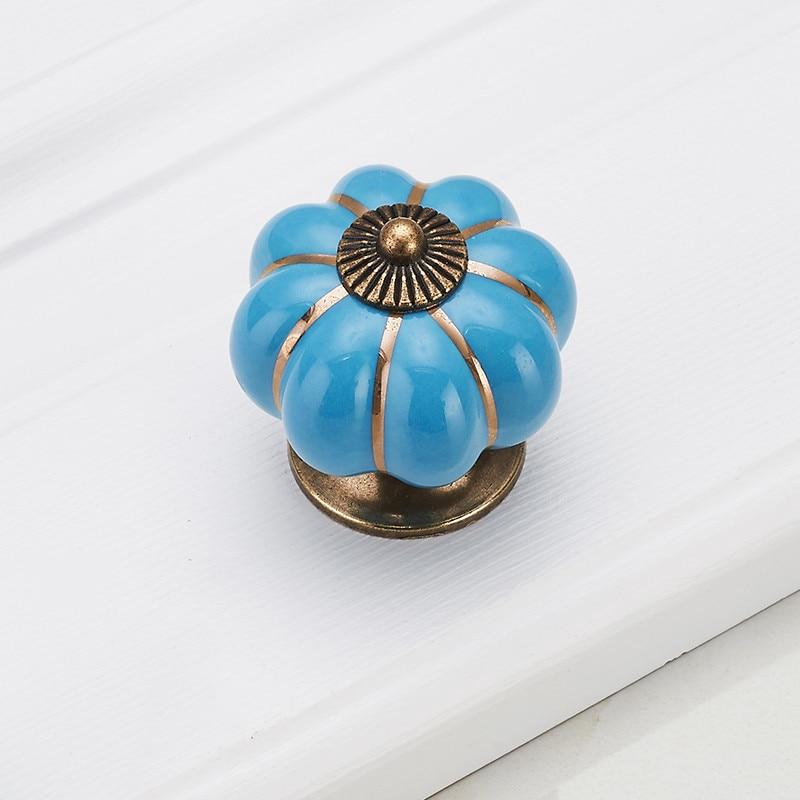 KAK Pumpkin керамические ручки 40 мм ручки для ящиков Ручки для дверей шкафа ручки для шкафа с одним отверстием с винтами мебельные ручки - Цвет: Blue