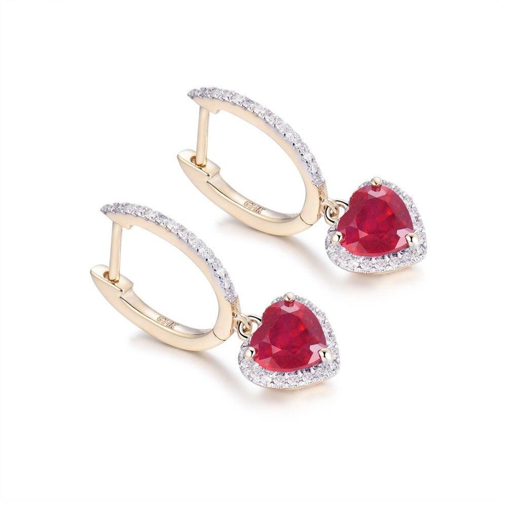 Loverbijoux femmes bijoux fins boucles d'oreilles Vintage coeur 6x6mm solide 14k or jaune diamant cadeau de mode rouge rubis boucles d'oreilles - 2