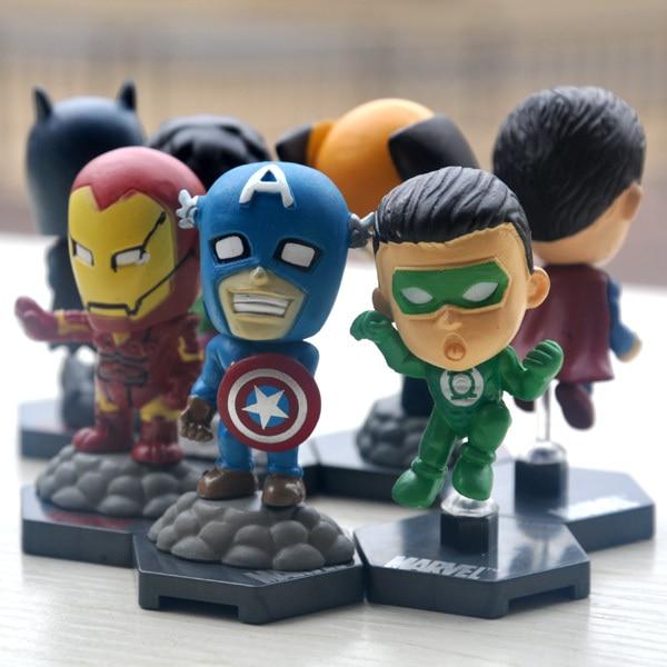8 pçs/lote 6.5 cm Anime The Avengers Q Vesion Spiderman Superman Batman Homem De Ferro Ação PVC Figuras Brinquedos