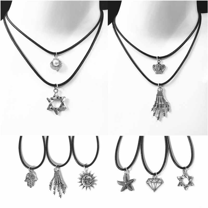 Nowa moda czarny sznurkowy naszyjnik-obroża klasyczne stop wisiorek naszyjnik dla człowieka kobiet Retro biżuteria prezenty hurtownie Multi Style
