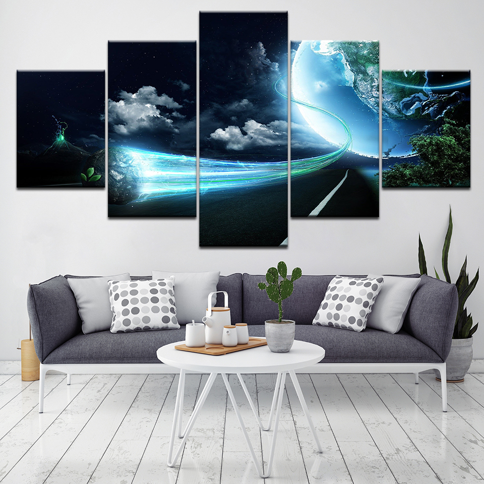 Home Decor Canvas Painting Wall Art 5 Pieces Cosmic Planet Vortex Light Meteorite Pictures HD Prints Abstract Poster Living Room