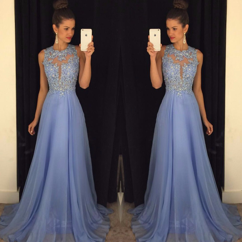 Sexy O Neck A Line Chiffon Prom Gowns Lace Appliques Beaded Light Blue Gowns Floor Length