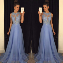 Light Blue O Neck/A Line Chiffon Prom Gown – Lace Appliques Beaded Floor-Length
