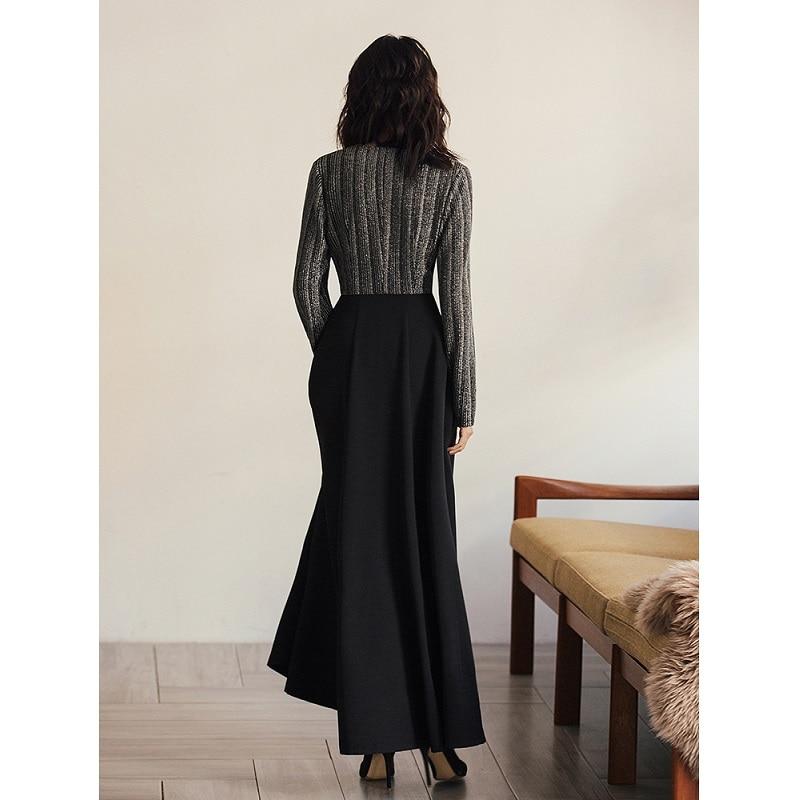 2019 Soirée Qualité Femmes Patchwork Printemps cou Robe Marque Longue Maxi V De Rayé Vintage Haute Imprimer Parti Mode qwI84n