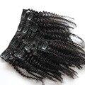 "Afro Rizado Rizado Clip En Extensiones de Cabello Humano Virginal Brasileño Ins Clips Del Pelo del Color Natural # 1B 10 ""-26"" Cabeza completa 10 unids 120g"
