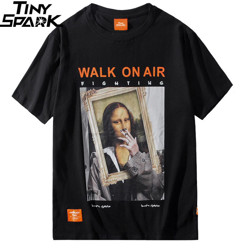 2019 Men Hip Hop   T     Shirt   Funny Smoking Mona Lisa   T  -  Shirt   Streetwear Summer Tshirts Short Sleeve Cotton Tops Tees Street Wear