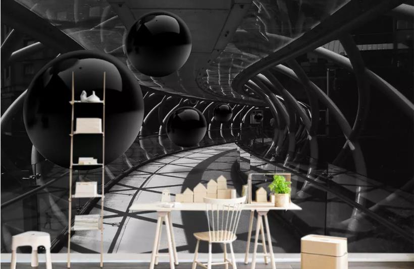 Custom Mural Wallpaper 3D Stereoscopic Black And White