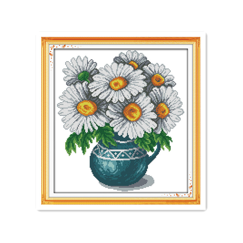 Wild chrysanthemum handmade small simple dmc needlework thread embroidery cross stitch suite chrysanthemum vase decoration