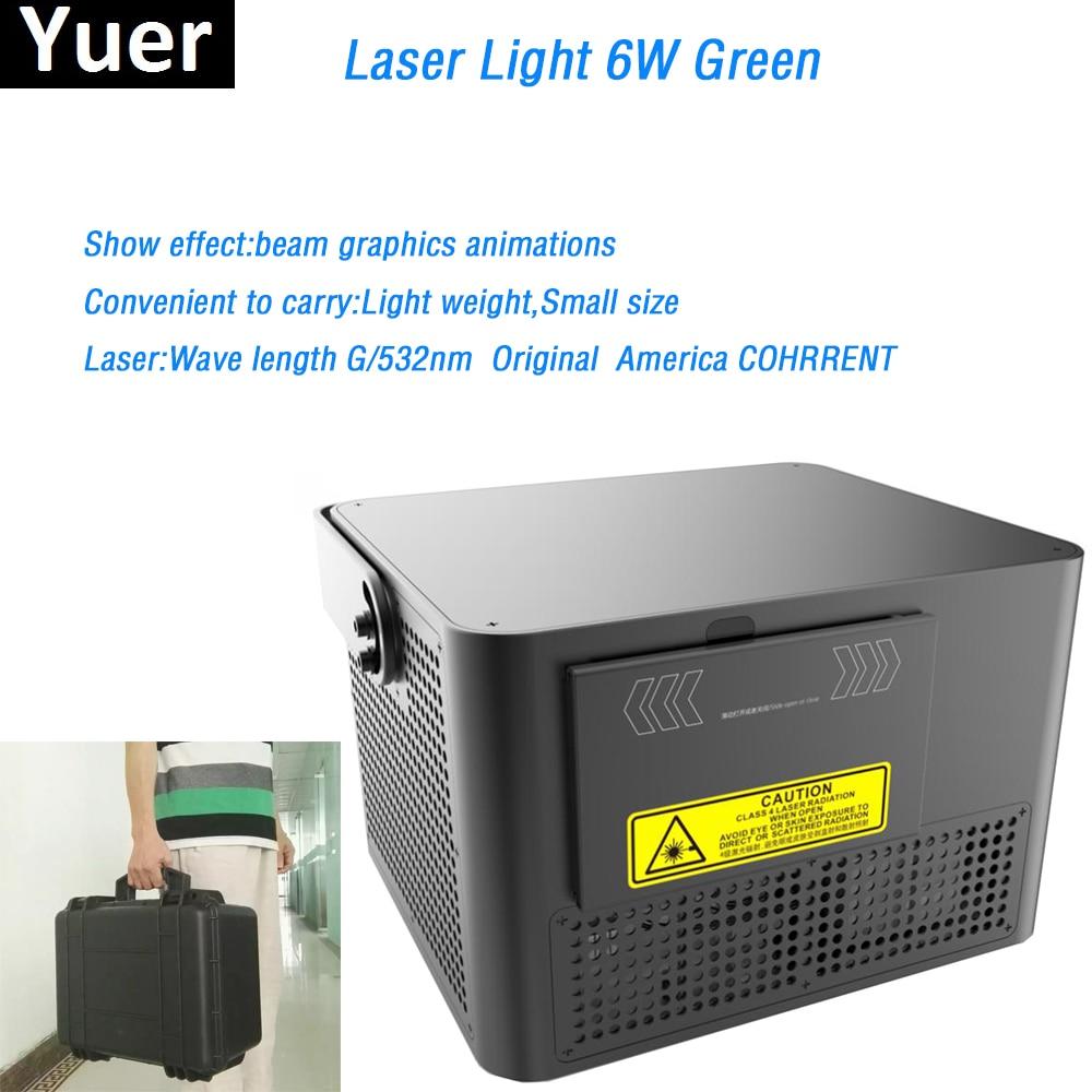 Suitcase packing 6W Green Laser Light beam graphics animations Original COHRRENT laser diode DMX512 for bar Disco stage light