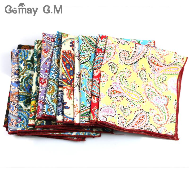 Brand Casual 100% Cotton Handkerchiefs for Men Cashew Floral Printed Pocket Square Male Handkerchief Party Party Handkerchief Hanky