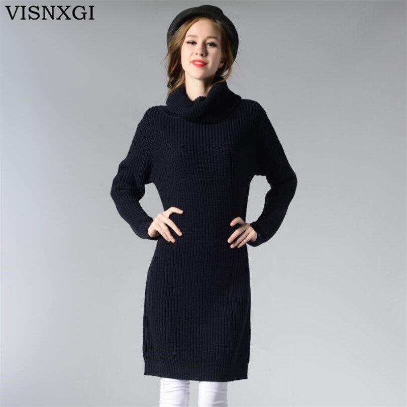 VISNXGI Women Autumn Winter Sweaters Knitted Dresses Slim Elastic Turtleneck Long Sleeve Sexy Lady Casual Robe Dresses Vestidos