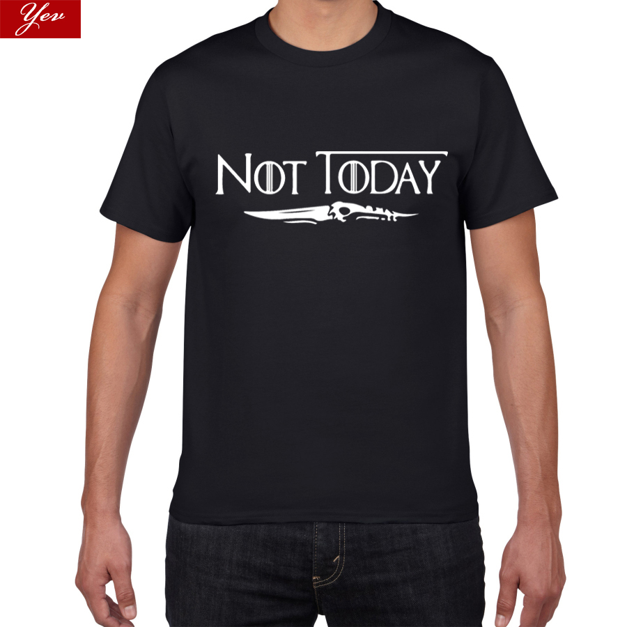 NOT TODAY ARYA STARK GAME OF THRONES   T     Shirt   Faceless Men   t     shirt   House Stark cotton summer streetwear   t  -  shirt   men clothes 2019