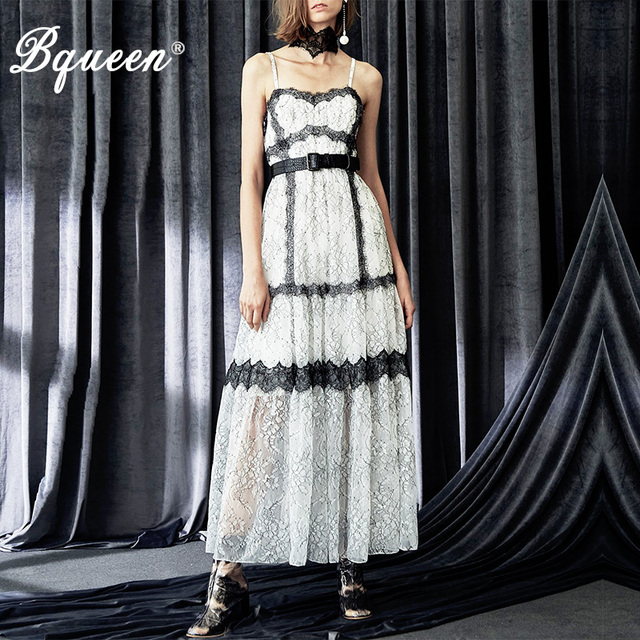 Bqueen Summer Sexy Strap Long Dress 2018 Women Ankle-Length Dress White Embroidery Fashion Flower Lace Maxi Dresses