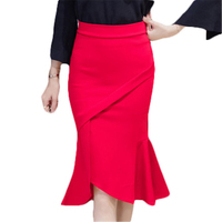2018 Spring Autumn Women Brand Sexy High Waist Midi Fishtail Skirts Female Flared Women S Long