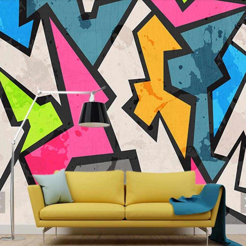 Abstract Geometry Graffiti Wall Paper Mural Wallpaper Wall Decorations Living Room Bedroom Paper Roll For Walls 3 D