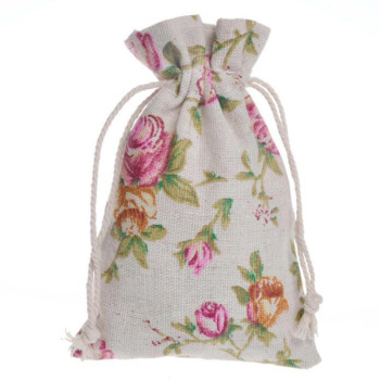 10X14cm Vintage Flower Natural Burlap Gift Candy Bags Wedding Party Favor Pouch Jute Gift Bags Party Supply ZA6403