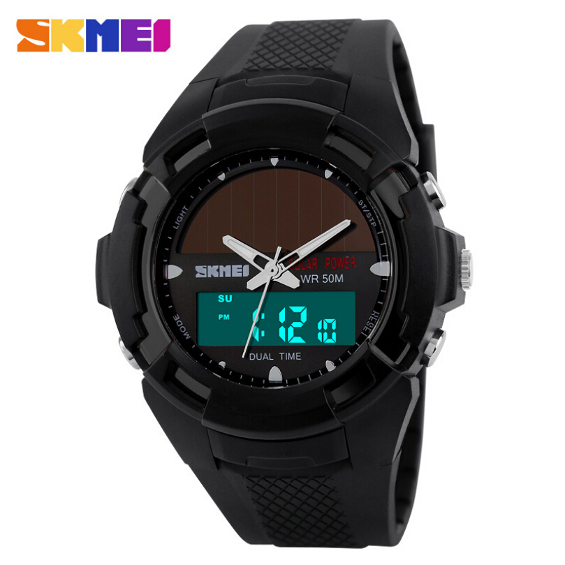 SKMEI Solar Energy Men's Wristwatches Solar Power LED Digital Quartz Waterproof Sport Watches Outdoor Men Boy's Military Watch 0405 multi functions solar power led digital men quartz sport wrist watch black