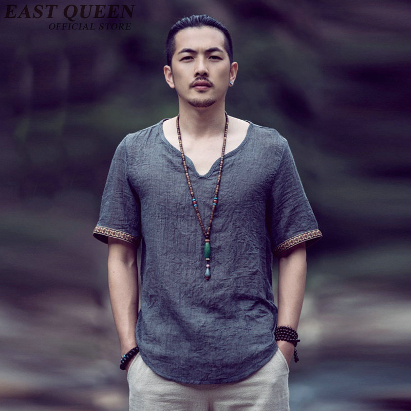 New Arrival Chinese Man Clothes Traditional Chinese Clothes Men Short Sleeve Mandarin Collar Blouses Large Size S 5XL NN0502 YQ
