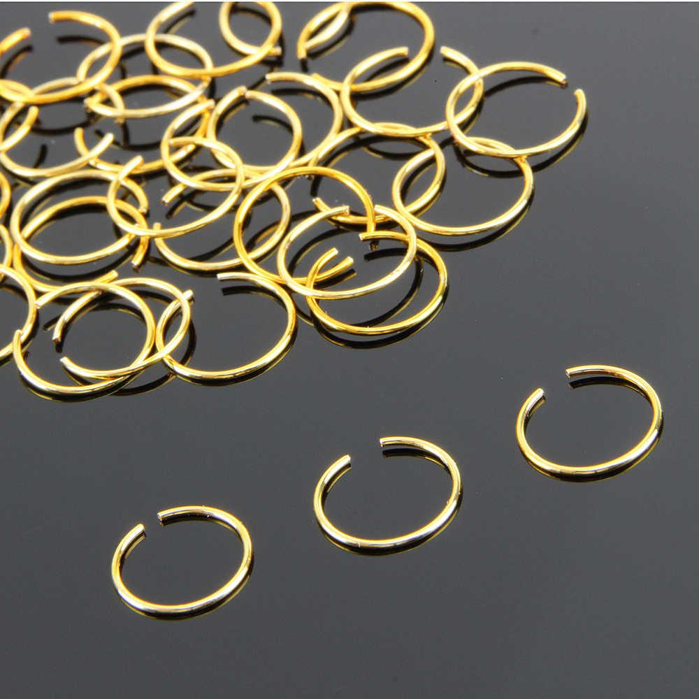 10 יח'\אריזה נשים אופנה קולר מזויף האף טבעת חישוק האף הרבעה טבעות פירסינג תכשיטי לנשים קוטר 8mm