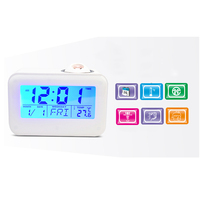 Electronic LCD Projector Alarm Clock Time Temperature Digital Display Desk Table Bedside Clocks Voice Talking Calendar T 4
