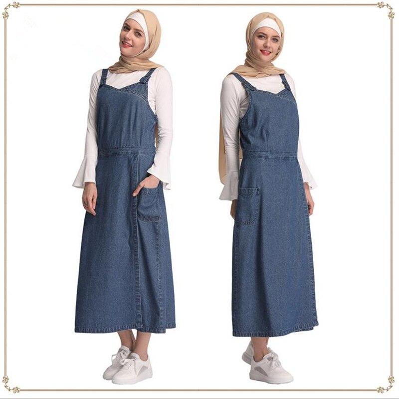2019 offre spéciale Dubai femmes musulmanes maxi robes gilet jeans abaya mode islamique arabe turquie vêtements pour fête grande taille S-XXL