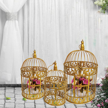 European iron bird cage wedding decoration window shooting props with gold Chain