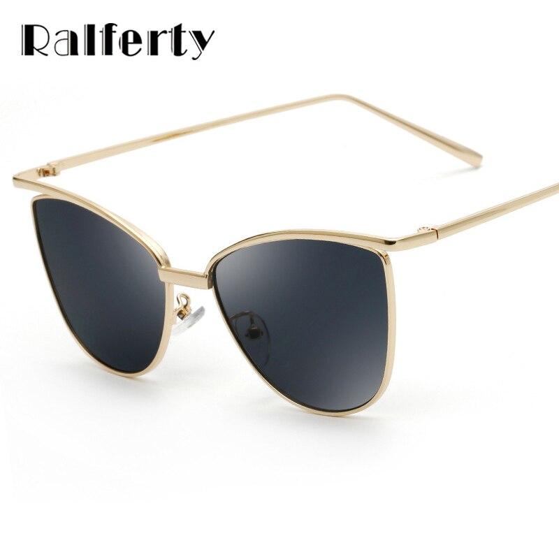 Ralferty Unique Simple Cat Eye Sunglasses Women Rose Gold Frame Mirrored Sun Glasses Cateye Shades Oculos lunette femme 2262