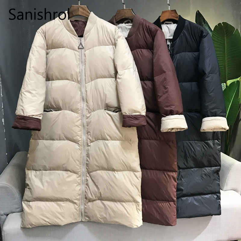 Sanishroly Autumn Winter Women Long Outwear Casual Loose Warm Thicken   Down   Jacket Female White Duck   Down     Coats   Plus Size SE680