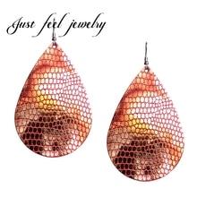 JUST FEEL Snakeskin Artificial Leather Drop Dangle Earrings Pendants Jewelry Statement Earrings For Woman Jewelry Accessories