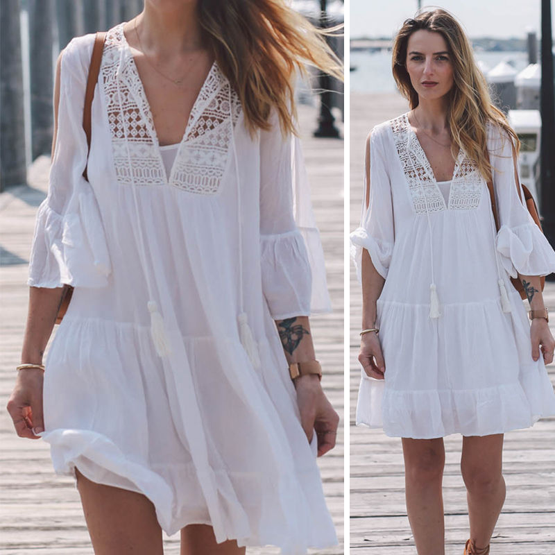 2017 Newest Woman Swimwear Cover Up Beach Dress Tops Bikini Set Cover Up Dress Clothes Women Lace Crochet Bathing Suit Bikini 5