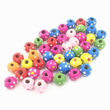 100Pcs Mixed Colourful Spacer Beads Round Dot Wood Fashion Jewelry DIY Findings Charms 10mm цена
