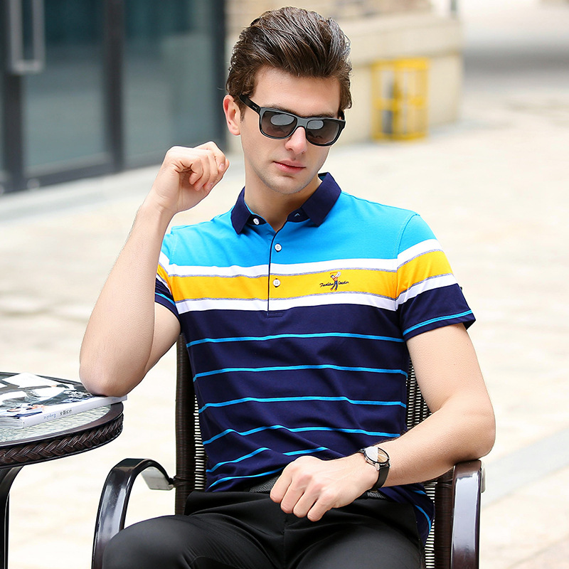 High Quality Tos   polo   shirt men homme 2018 summer fashion striped short sleeve cotton embroidery casual style plus size q3803
