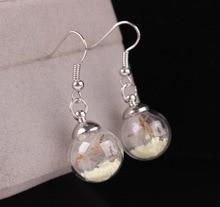 Silver plated jewelry cute glass ball studs earring fashion hook luminous earring for women