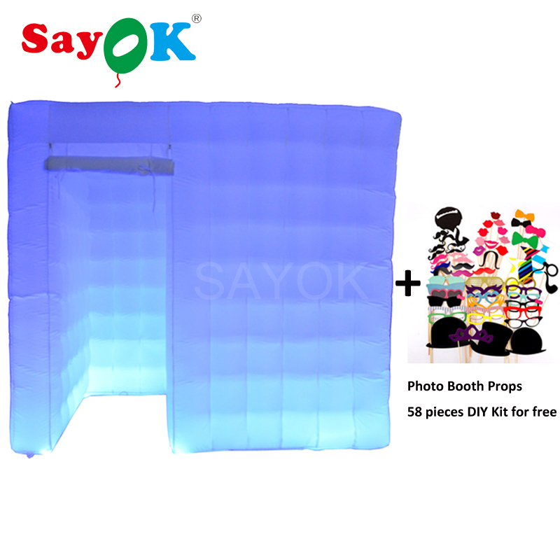Inflatable photo booth,inflatable <font><b>cube</b></font> tent with left door 16 <font><b>led</b></font> colors for wedding party hot sale image