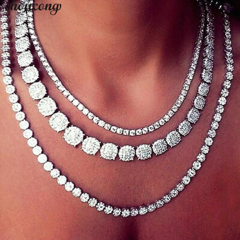 choucong 11 Styles Luxury Tennis Necklace AAAAA Cz White Gold Filled Party Necklace for women Bridal Wedding Accessory Jewelry