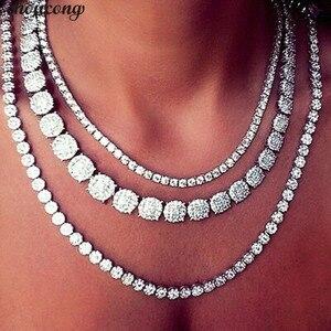 Image 1 - Choucong collar de tenis de lujo para mujer, 11 estilos, AAAAA, circonia cúbica, oro blanco, para fiesta, novia, accesorio de boda, joyería