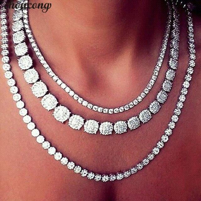Choucong collar de tenis de lujo para mujer, 11 estilos, AAAAA, circonia cúbica, oro blanco, para fiesta, novia, accesorio de boda, joyería