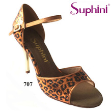 Free Shipping Suphini High Heel Tango Dance Shoes Woman Party Orange Leopard Dance Shoes