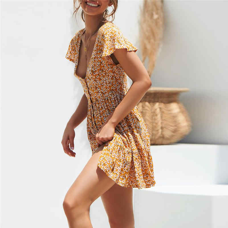 6e9a1949f102a 2019 Latest Spring&Summer Womens Boho Floral Summer Party Evening Beach  Short Dress Sundress Sweety Casual Dress 40Z