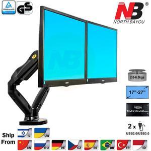"NB F160 Gas Spring 360 Degree Desktop 17""-27"" Dual Monitor Holder Arm Full Motion Dual Arm Monitor Mount Bracket(China)"