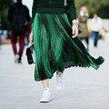 2016 Verão Mulheres Midi Saia Saia Longa de Cintura Alta Dinâmica Gradiente De Seda Metálica Flared Plissada Saias Das Mulheres Bottoms